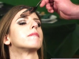 Cumdrenched british babe fed spunk with spoon