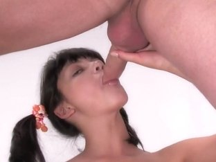 Cum is squirting out of this teen's cunt