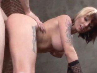 Tattooed gal Monroe Valentino gets her ass boned