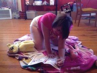 babygirl messing during playtime