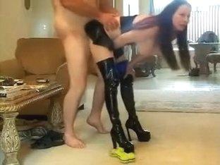 Dark leather fellatio anf fuck