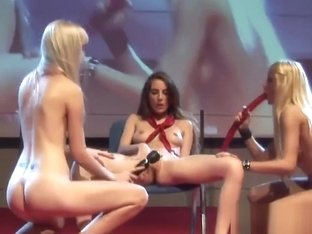 Three blonde girls having wild sex on the stage