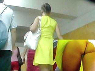 Sunny gal demonstrates up-petticoat