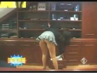 Great up skirt thong shot of an office girl's sassy ass