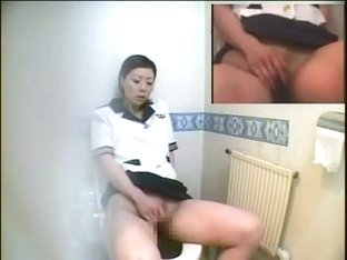 HOT Toilet Masturbation  Japanese STEWARDESS