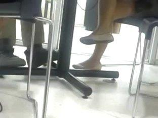 Candid shoeplay dangling public