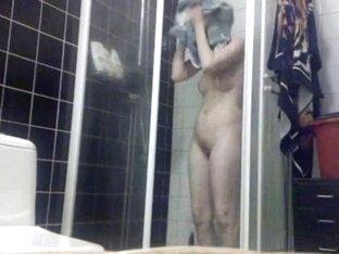 blonde MILF having shower