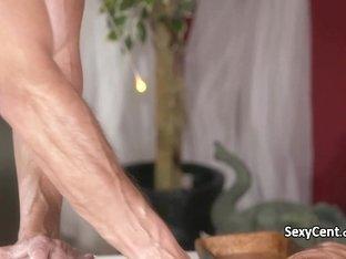 Double cumshot for milf on massage