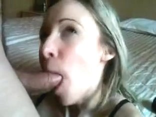 Amateur yellow haired woman swallows massive rod