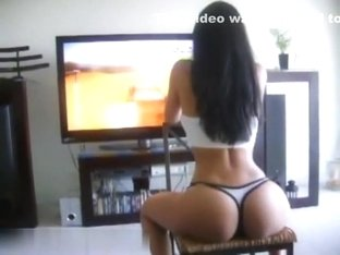 Horny brunette girlfriend plays video games in her underwear