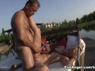 Fabulous pornstars Angie Koks, Misha Cross, Rocco Siffredi in Exotic Outdoor, Anal sex clip