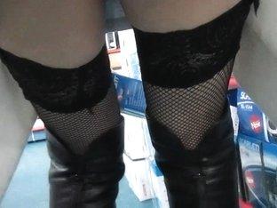 Fishnet stockings upskirt without panties