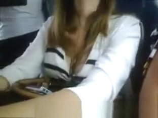 Big tits brunette chick in glasses at the bus