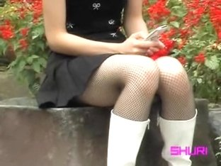 Asian in fishnet socks got top sharked in her favourite park