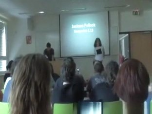 Striptease in classroom during a lesson