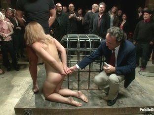 Hot Local Amateur Locked in a Cage and Fed to a Hungry Crowd