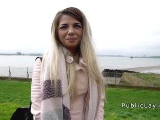 Stranger bangs blonde outdoor for money