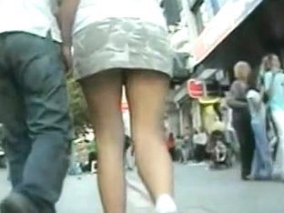 Girls with sexy butt filmed upskirt by me at the local shop