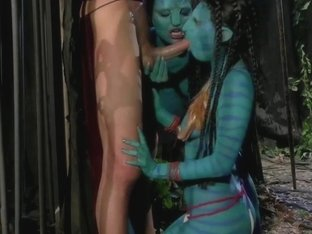 Blowjob from two blue avatars