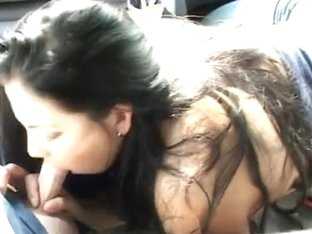 Engulfing his wang in the car