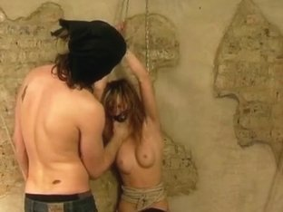 Exquisite teen blonde in hot BDSM threesome
