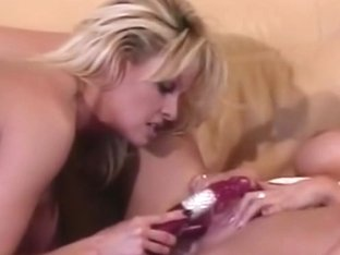 Immoral golden-haired women fake penis banging