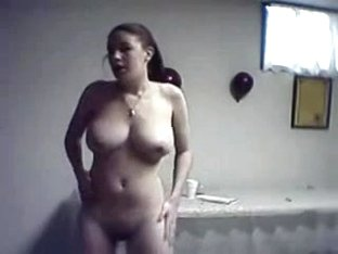 Chubby girlfriend gives a strip show