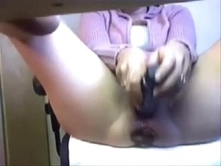 Hidden cam under desk caught great masturbation of my mature