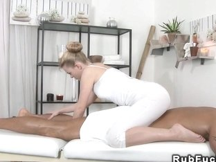 Tanned muscled dude fucking masseuse massaging jizz