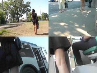 Hot thong shot of brunette's butt in upskirt video