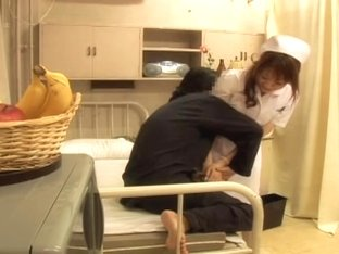 Blonde Japanese naughty nurse fucked pretty hard and fast