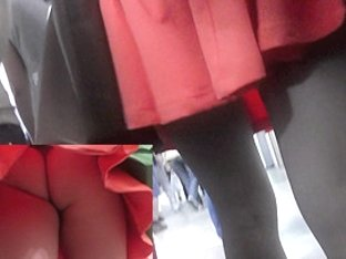 It wasn't hard to upskirt this girl on platform shoes