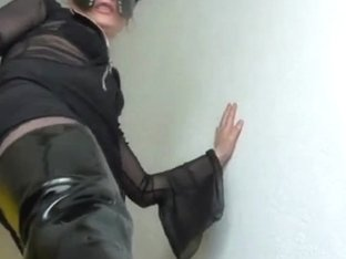 Licking cum from boots of dominatrix-bitch