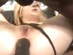 hot blonde in boots takes 2 Bbc's