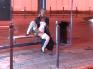 Wild blonde fucks a dildo in public