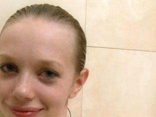 Russian super gaunt girl in the shower