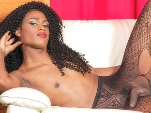 Lola Long in Lola Long Jacks Her Huge Cock - BlackTGirls