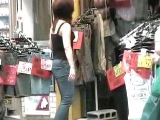 Cute girl in jeans got boob sharked in front of her door