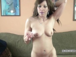 Brunette MILF Brandi Minx is swallowing a stiff cock