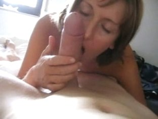 getting a great blowjob from MILF