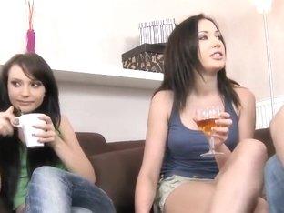 Teen brunettes Nataly Von and Raffaella going to cuss out hot!