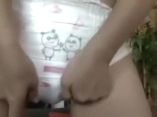 Girl in pull pus diaper