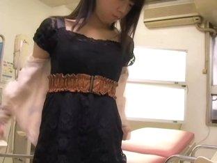 Jap in stockings gets a creampie in voyeur medical video