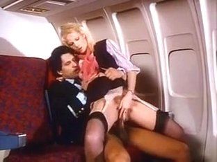 Pilot fucking stewardess in black nylons