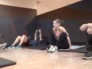 Stretchy girl does full splits