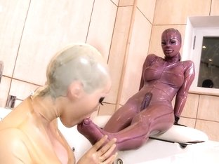 Horny pornstars Lucy Latex and Black Angelica in exotic fetish, big tits sex video