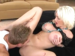 Stunning blonde milf gets nailed hard by muscled stud