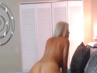 Beautiful Blonde Babe Stroking her Dildo on her Tight Pussy
