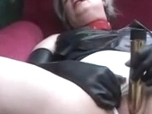 Kinky granny plays with huge sex toys