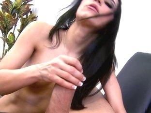 Cocksucking brunette shows her oral skills in porn film